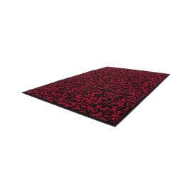 Tapis à courtes mèches rouge à motifs fleuris Syrah