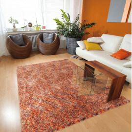 Tapis shaggy en polyester design orange chiné beige Ethno