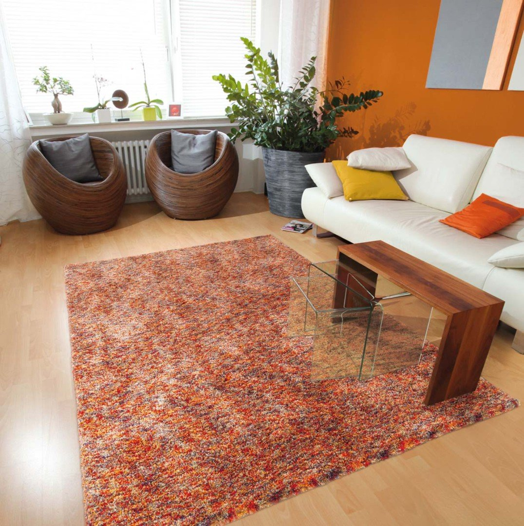 tapis shaggy en polyester design orange chin beige ethno. Black Bedroom Furniture Sets. Home Design Ideas