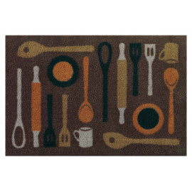 Tapis de cuisine taupe lavable en machine en Nylon Spoon