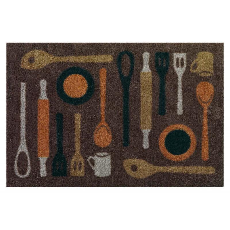 tapis de cuisine taupe lavable en machine en nylon spoon. Black Bedroom Furniture Sets. Home Design Ideas
