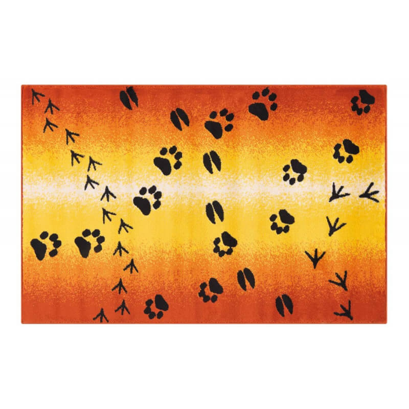 tapis pour chambre d 39 enfant ambiance savane orange footprint. Black Bedroom Furniture Sets. Home Design Ideas