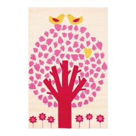 Tapis pour chambre de fille en polypropylène blanc Tree