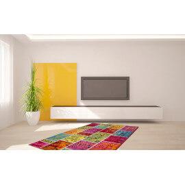 Tapis effet patchwork pour salon moderne multicolore Funky