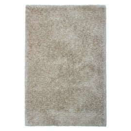 Tapis tufté main en polyester aux longs velours sable Wellington