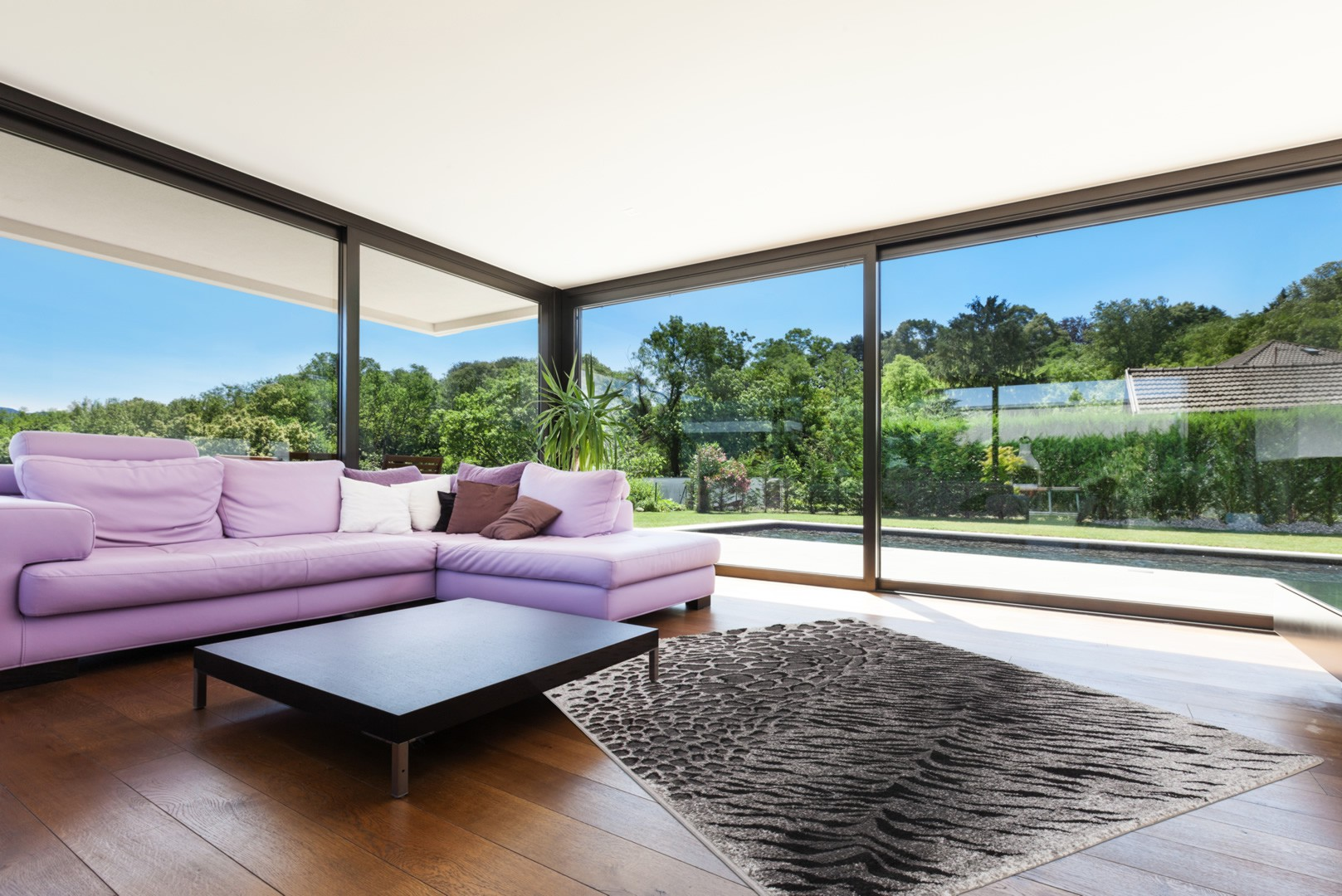 tapis imitation peau de b te argent en polypropyl ne vulture. Black Bedroom Furniture Sets. Home Design Ideas