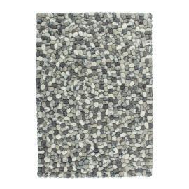 Tapis en laine feutrée rectangulaire fait main gris Sences
