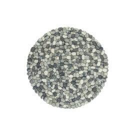 Tapis en laine feutrée rond fait main gris Sences