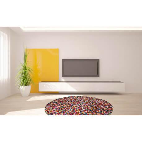 tapis rond en laine feutr e fait main multicolore chicago. Black Bedroom Furniture Sets. Home Design Ideas