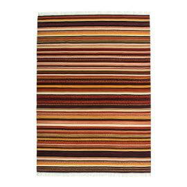 Tapis à franges plat en laine marron Maimane