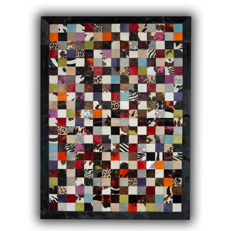Tapis patchwork en peau de vache multicolore ibiza - Peau de vache tapis ...