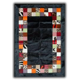Tapis noir façon patchwork en peau de vache Santander