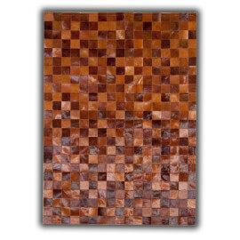 Tapis en cuir naturel beige patchwork Bilbao