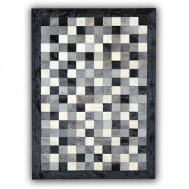 Tapis en peau de vache gris, noir et blanc patchwork Cordoue