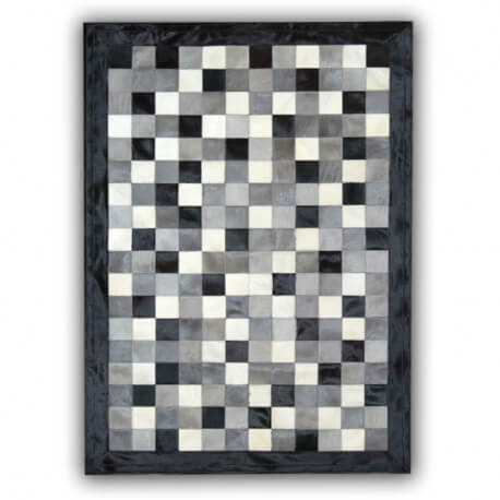 tapis en peau de vache gris noir et blanc patchwork cordoue. Black Bedroom Furniture Sets. Home Design Ideas