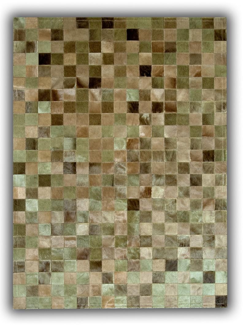 Tapis patchwork beige en peau de vache du Maquis