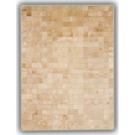 Tapis patchwork en cuir naturel beige Oviedo