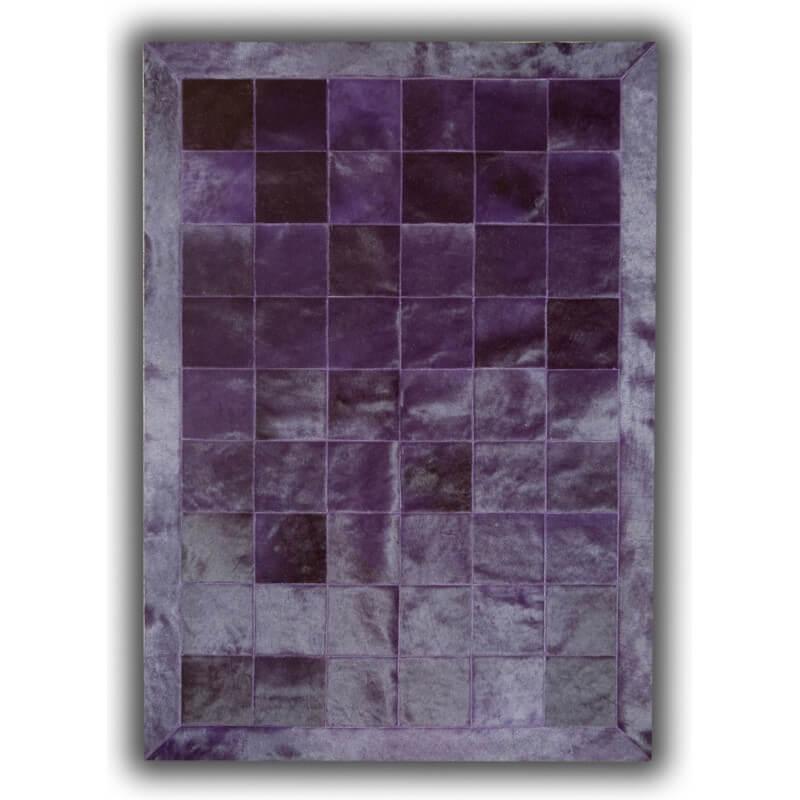 tapis violet en cuir naturel patchwork burgos. Black Bedroom Furniture Sets. Home Design Ideas