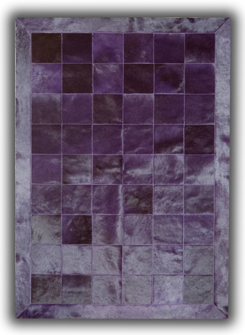 tapis violet en cuir naturel patchwork burgos. Black Bedroom Furniture Sets. Home Design Ideas