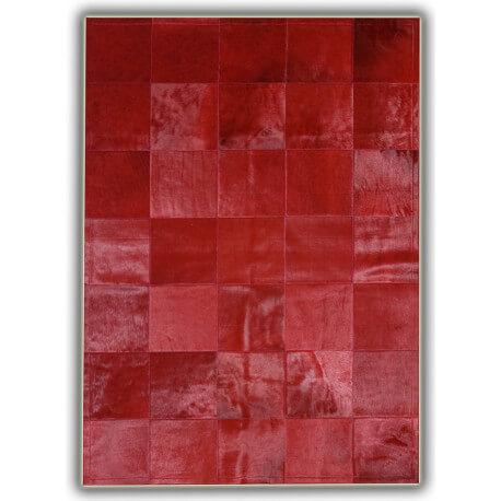 Tapis rouge en peau de vache patchwork Almeria