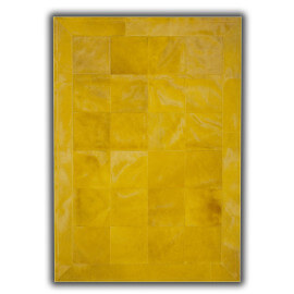 Peau de vache patchwork rectangulaire jaune Huelva