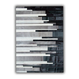 Tapis rayé en cuir naturel blanc, noir et gris Cadix