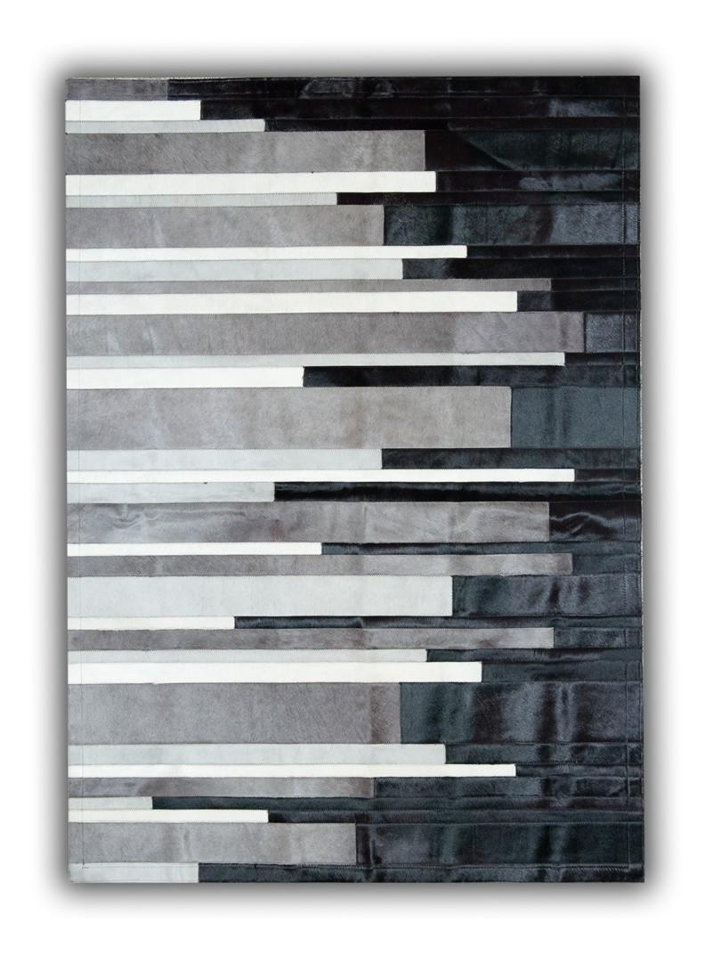 tapis ray en cuir naturel blanc noir et gris cadix. Black Bedroom Furniture Sets. Home Design Ideas