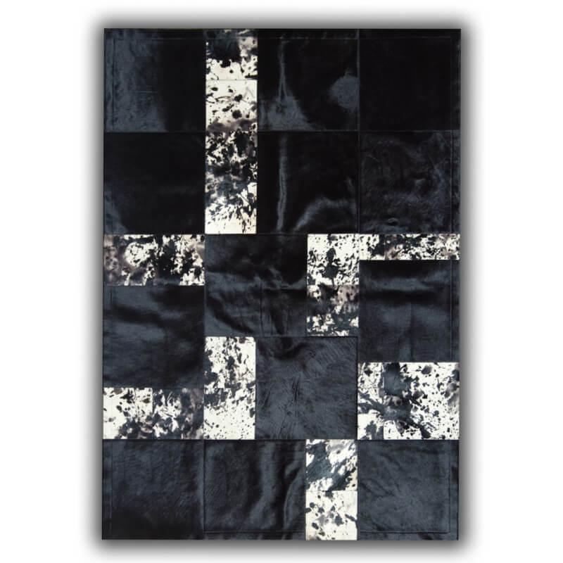 tapis noir en peau de vache pour salon telde. Black Bedroom Furniture Sets. Home Design Ideas