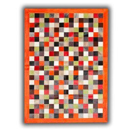Tapis en cuir naturel multicolore avec bord orange Orihuela