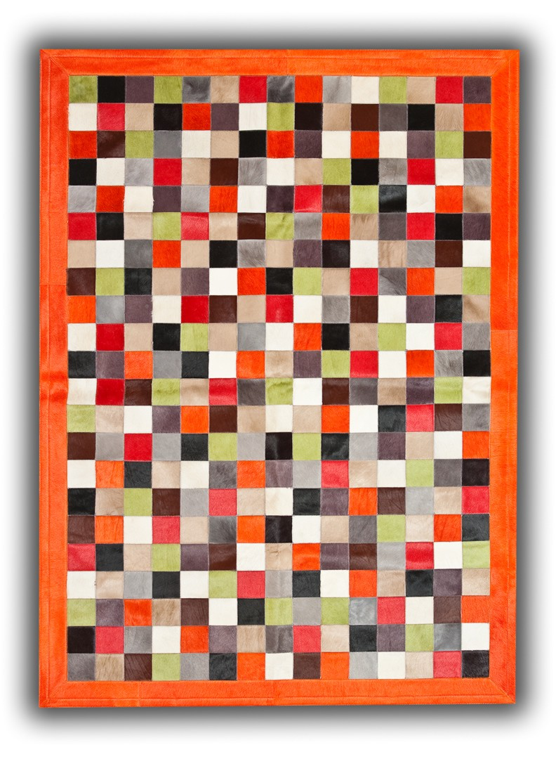 Tapis en cuir naturel multicolore avec bord orange Orihuela