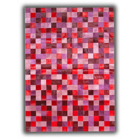Tapis en cuir naturel patchwork rose design Toledo
