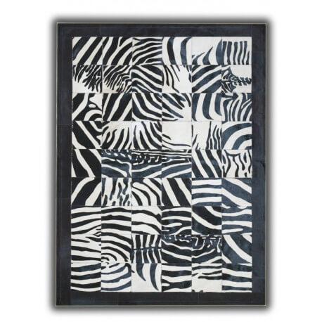 Tapis imprimé zèbre sur peau de vache noir et blanc Torrent