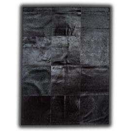 Tapis en cuir naturel avec effet relief et lisse noir Manresa