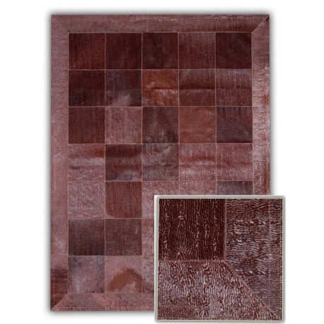 Tapis avec relief en cuir naturel marron Ferrol