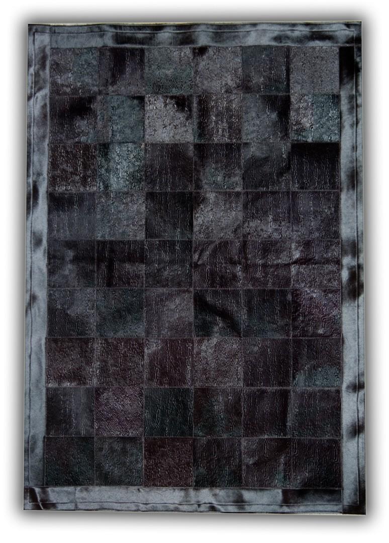 Tapis en cuir naturel noir avec relief Benidorm