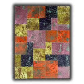 Tapis en peau de vache coloré patchwork Paterna