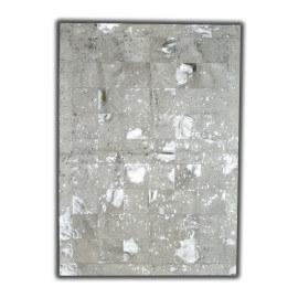 Tapis argenté sur peau de vache naturelle patchwork Linares