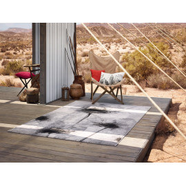 Tapis en polyester contemporain argenté Night Shade Esprit Home