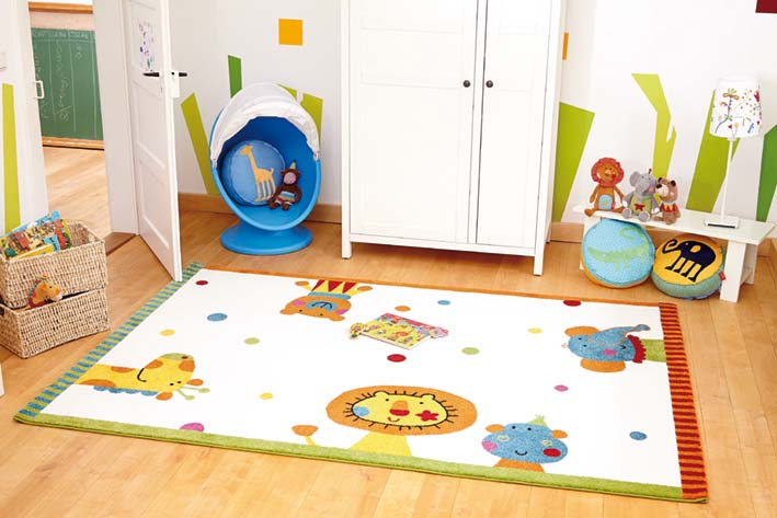 tapis pour chambre de b b blanc animal festival sigikid. Black Bedroom Furniture Sets. Home Design Ideas