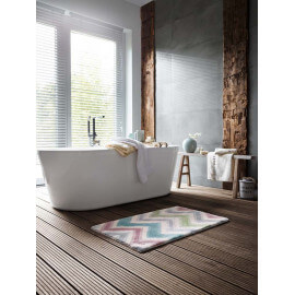 Tapis de bain multicolore antidérapant Zick Zack Esprit Home