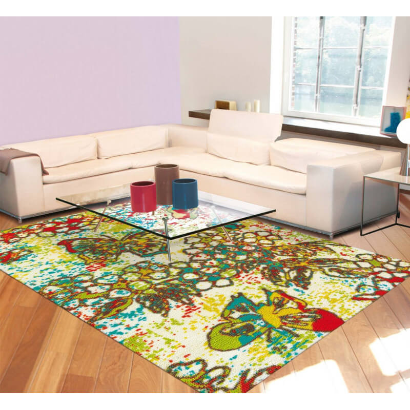 Tapis multicolore pour salon avec imprim floral paint box arte espina - Tapis salon multicolore ...
