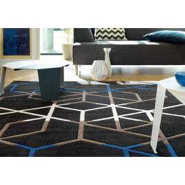 Tapis bleu moderne à motifs géométriques Casino Arte Espina
