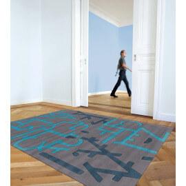 Tapis à courtes mèches bleu design Casino Arte Espina
