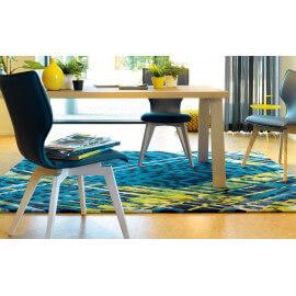 Tapis design en laine de Nouvelle-Zélande et viscose bleu Criss Cross Arte Espina