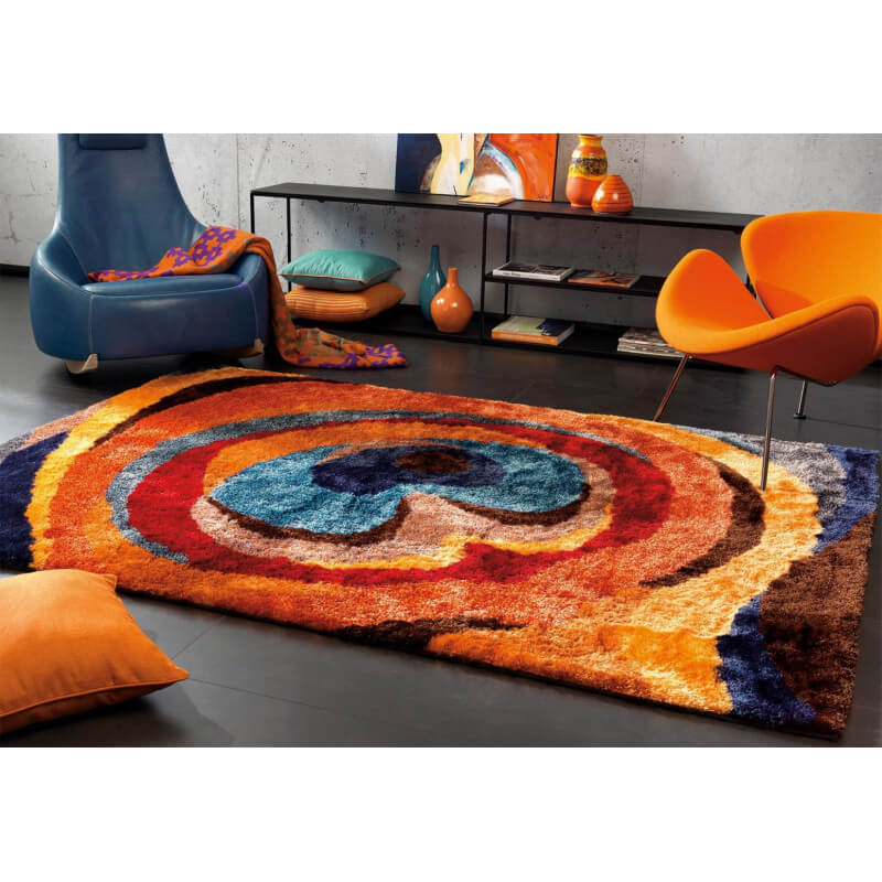 tapis shaggy multicolore en polyester doux funky arte espina. Black Bedroom Furniture Sets. Home Design Ideas