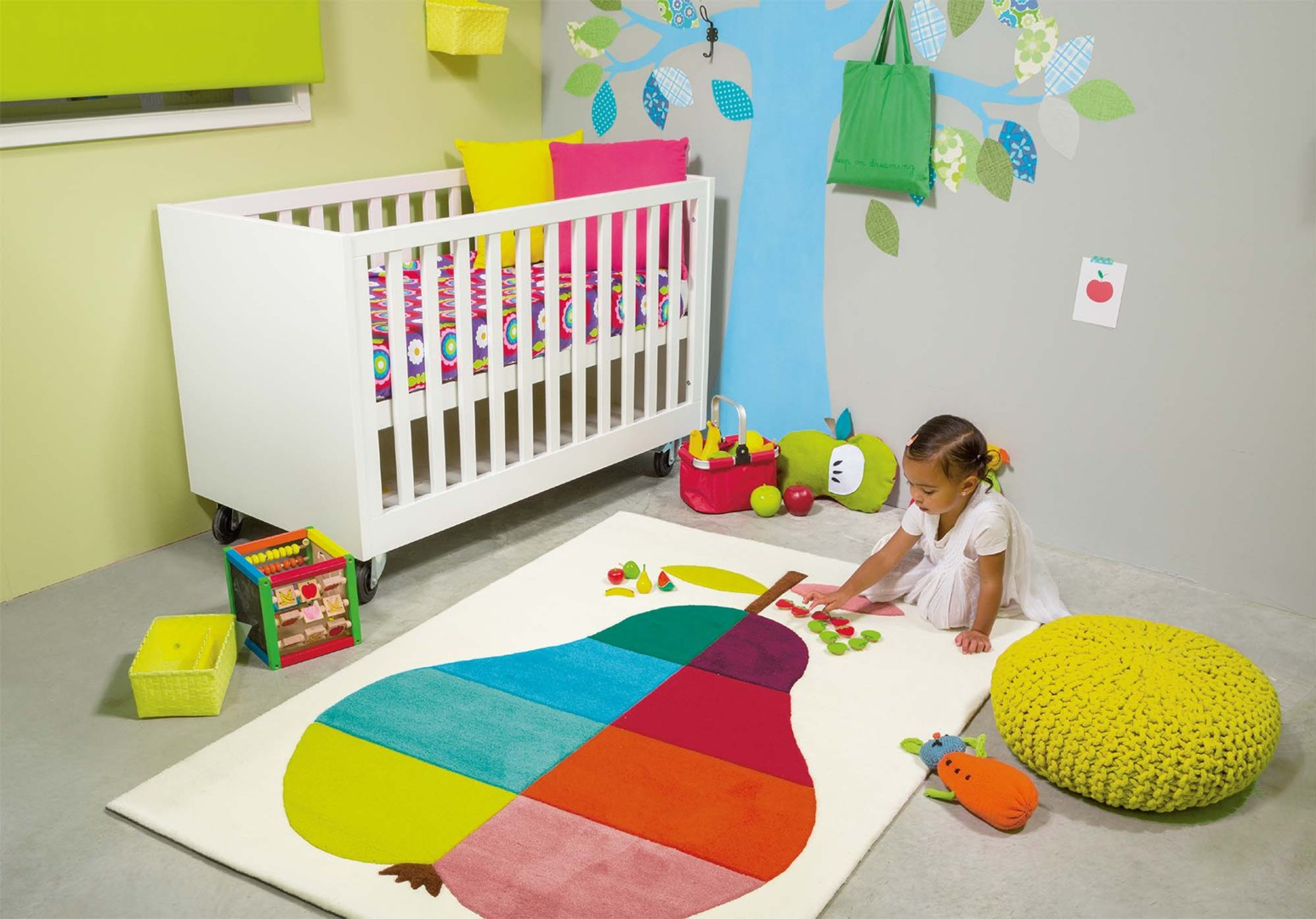 tapis multicolore rectangulaire pour enfant kids pear arte. Black Bedroom Furniture Sets. Home Design Ideas