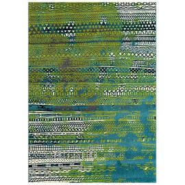 Tapis ethnique vert moderne Folk Arte Espina