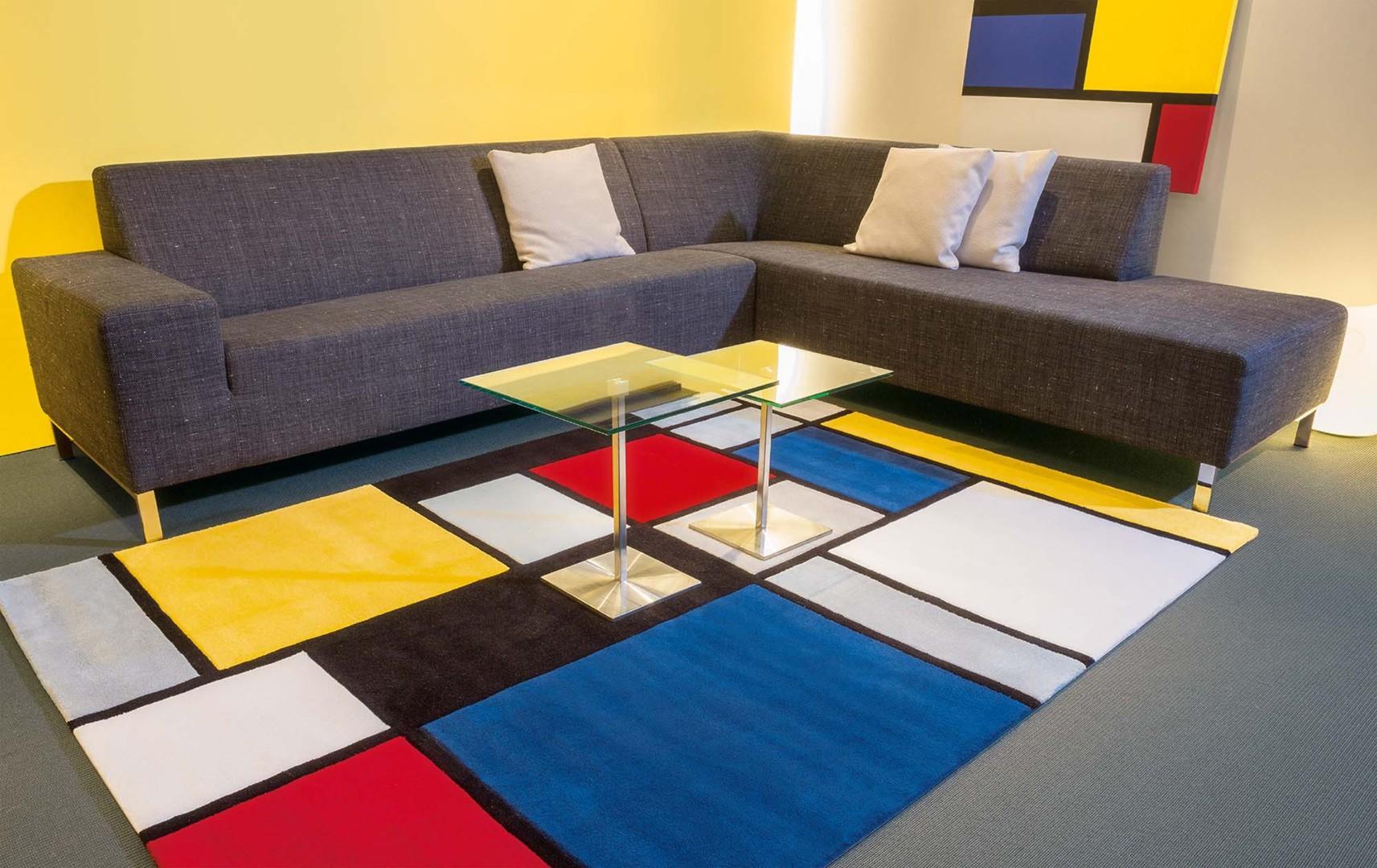 Tapis rectangle coloured cubes par arte espina - Tapis style mondrian ...