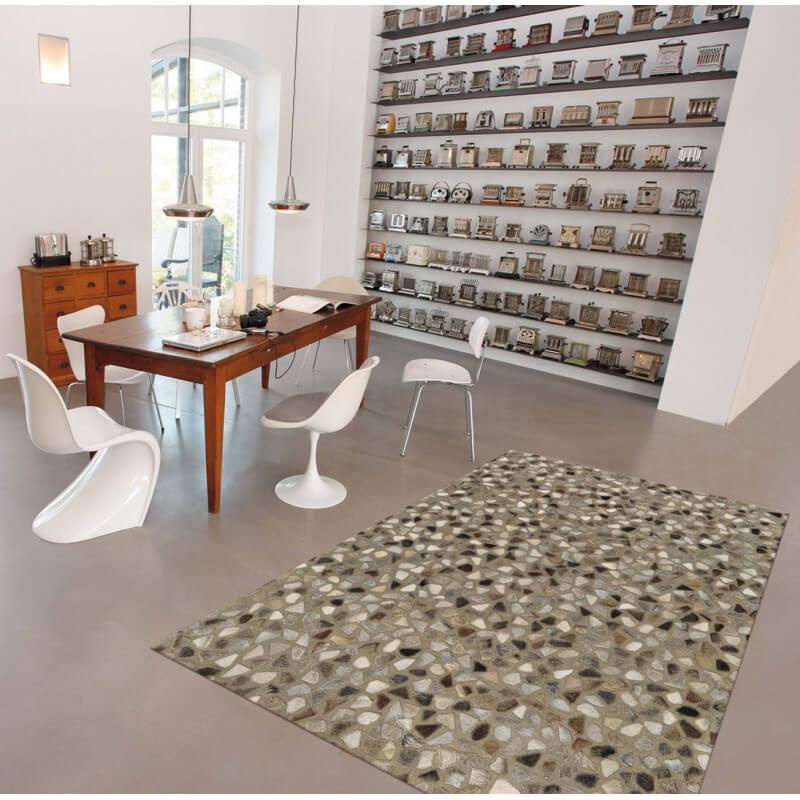 tapis en cuir et coton gris pioneer arte espina. Black Bedroom Furniture Sets. Home Design Ideas