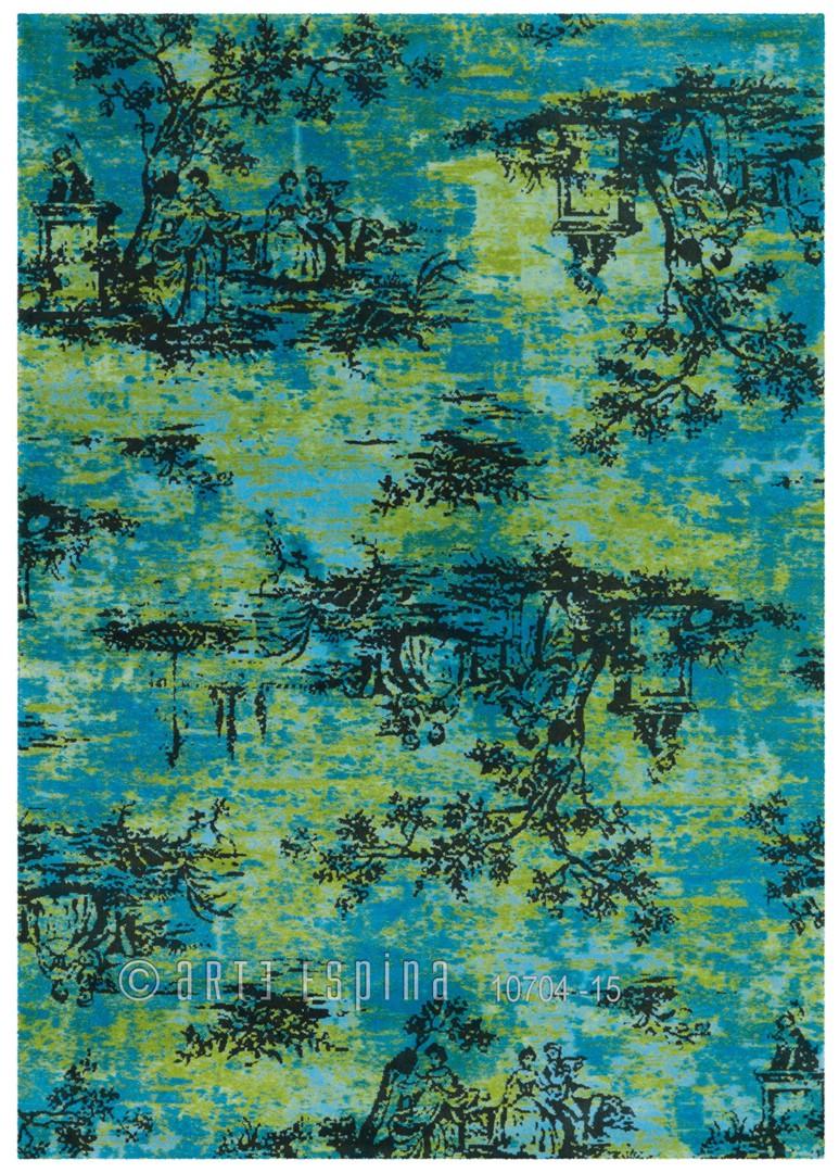 Tapis vintage imprimé en acrylique vert Toile De Jouy Arte Espina